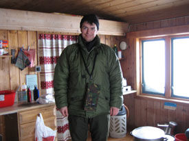 duvet jacket inside hut
