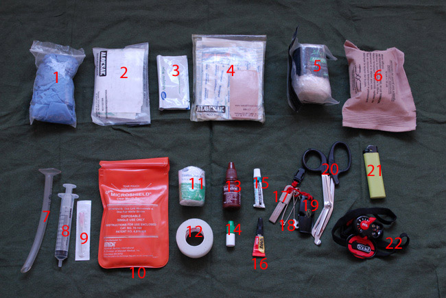 Contents of Paul Kirtley's Personal Wilderness First Aid Kit
