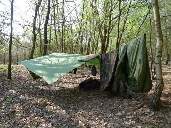 Mini tarp ground sheet waxed canvas leather wildcamping bushcraft footprint