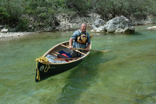 Ray Goodwin in a canoe
