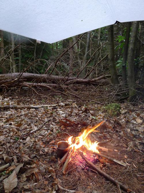 Fire under a tarp