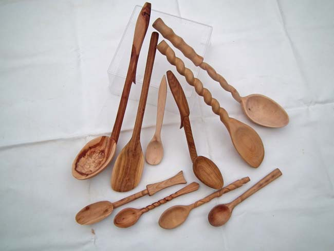 A collection of hand-carved bushcraft spoons