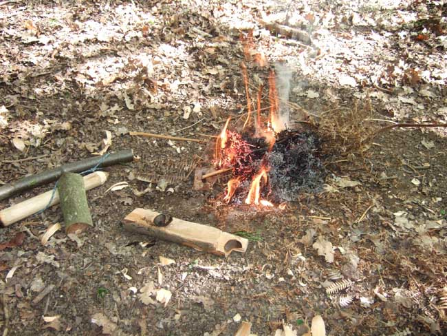 Successful friction firelighting on bushcraft course