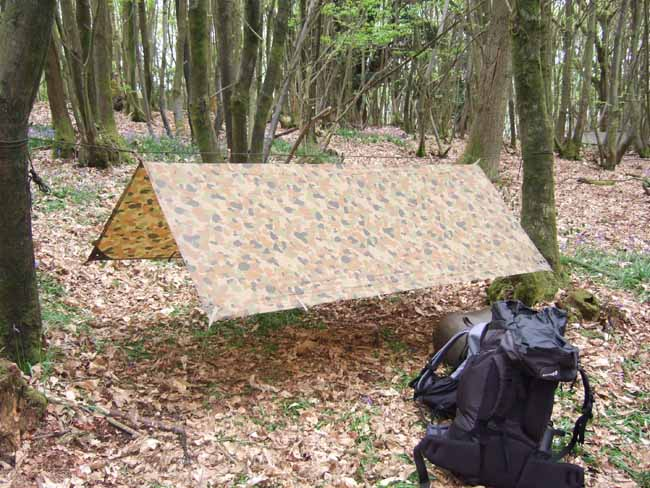 Paul Nicholl's tarp set up on his bushcraft course