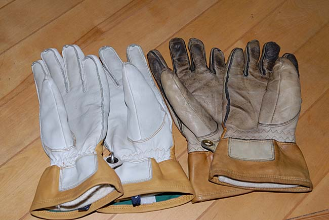 Old well-worn Hestra Falt leather gloves versus new Hestra Falt leather finger gloves.