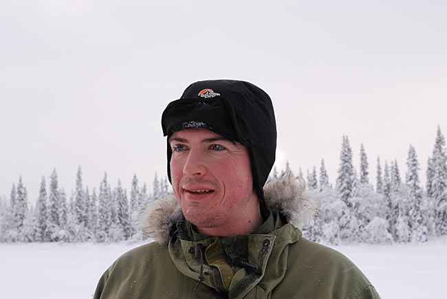 Paul Kirtley wearing windproof, fleece-lined winter cap.