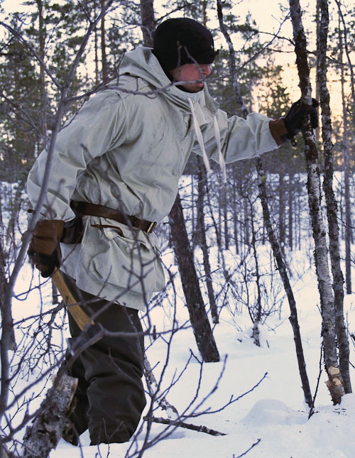 Barry Smith in the Swedish army snow smock