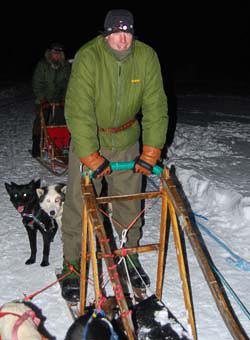Barry Smith in Trakker jacket dog-sledding
