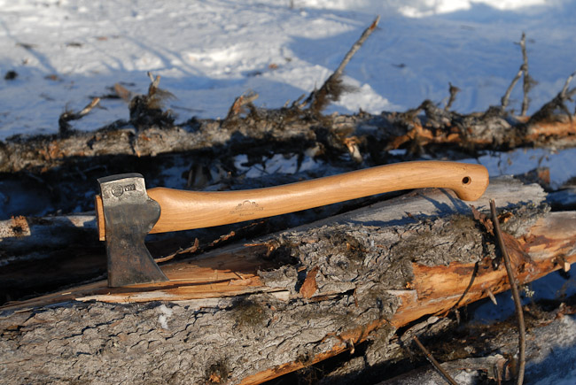 An axe in a log in the arctic forest