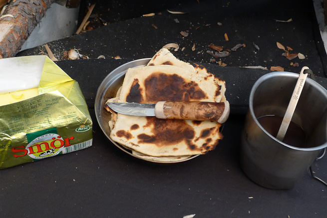 butter, flatbread and fresh coffee