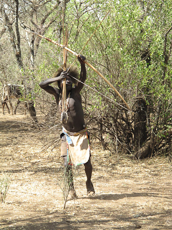 Hadzabe man hunting with bow