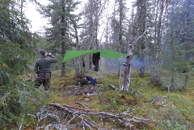 Hilleberg tarp set up in the boreal forest