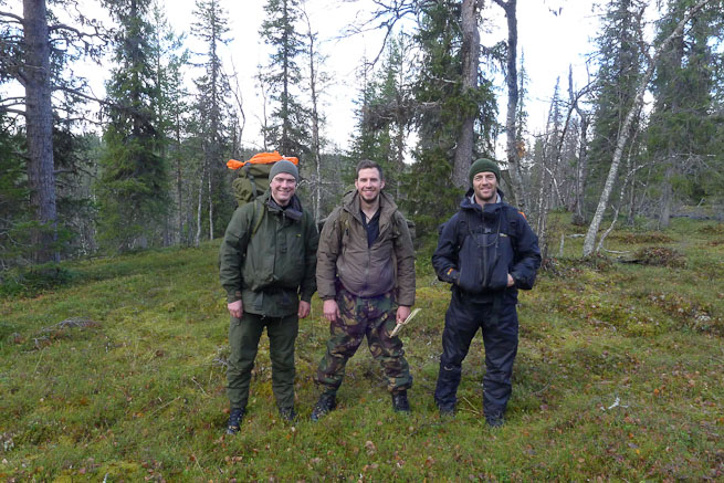 Paul Kirtley and colleagues on a hiking trip in the northern forest of Sweden