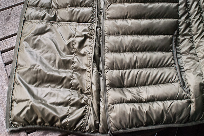 Ultra Light Down gilet internal and external pocket space