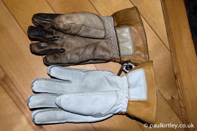 Two Hestra gloves, one new, one old