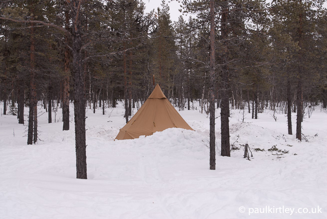 tentipi dug into the snow