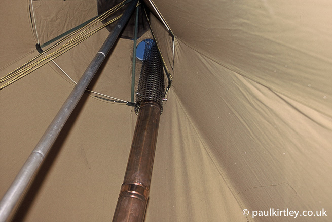 Inside of a tent tipi with chimney guard