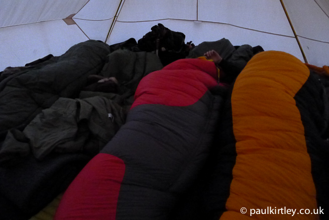 Sleeping Bags. In a tent.