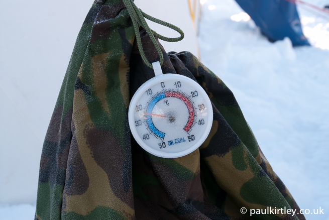 Thermometer showing minus 20 Celsius.