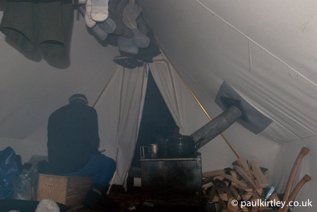 Tent filled with smoke