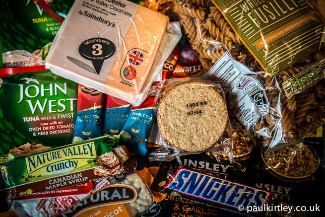 Foodstuffs - cheese, oatcakes, snickers, granola bar, cereal bar, cous cous, Cup-a-soup, pasta, Kenco coffee sachets, John West tuna