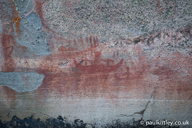 Atery Lake canoe man pictograph found on the Bloodvein river