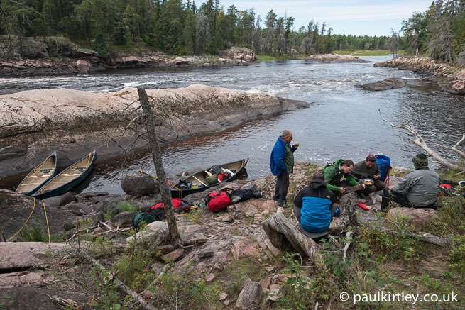 Eating lunch at the end of a portage trail