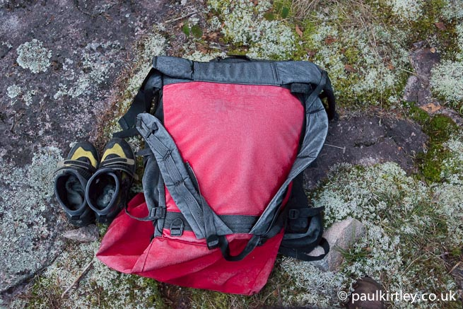 Portage pack covered with frost