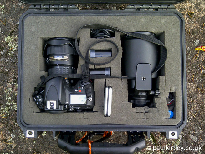 Peli case containing Nikon D800, lenses and accessories