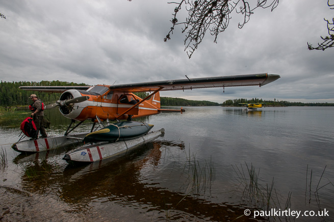Unloading equipment from de Havilland Beaver