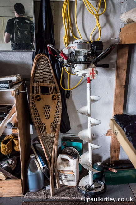 Snowshoes and ice auger