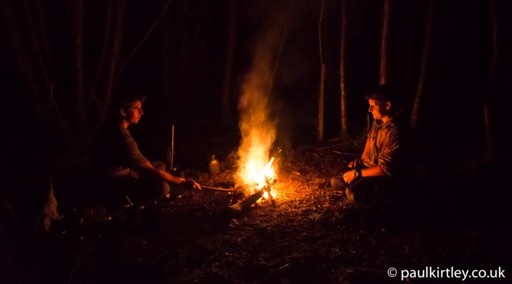 A nighttime campfire scene