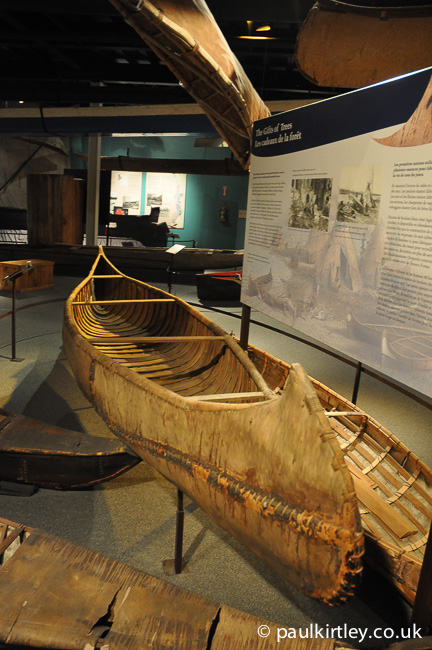 Birch bark canoe in canoe museum
