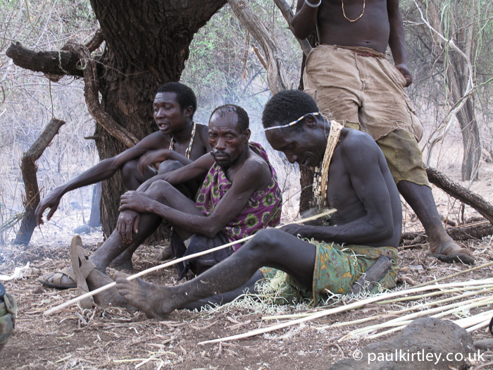 Hadza hunter-gatherer making arrows for his bow