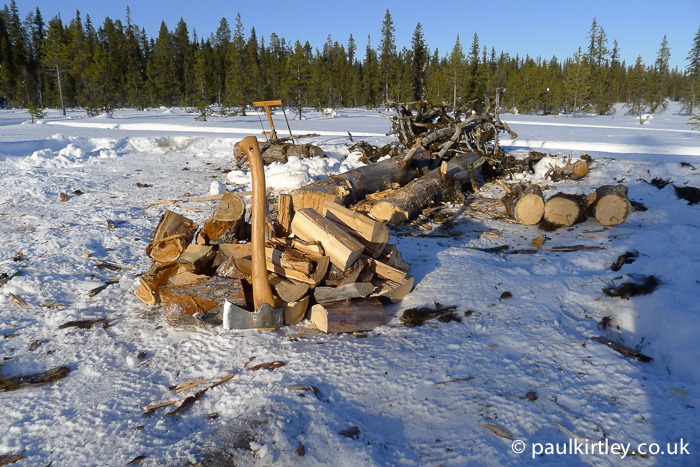 Axe and split wood on snow