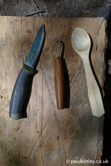 Mora knife, Svante Djarv spoon knife and wooden spoon