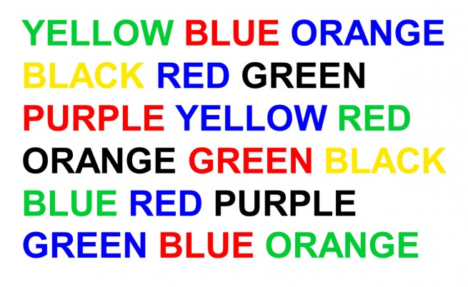 Names of colours written in ink of a different colour to the name