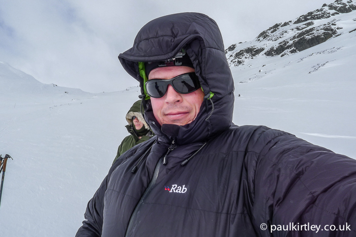 Paul Kirtley wearing Rab Neutrino Endurance down jacket in the Norwegian mountains