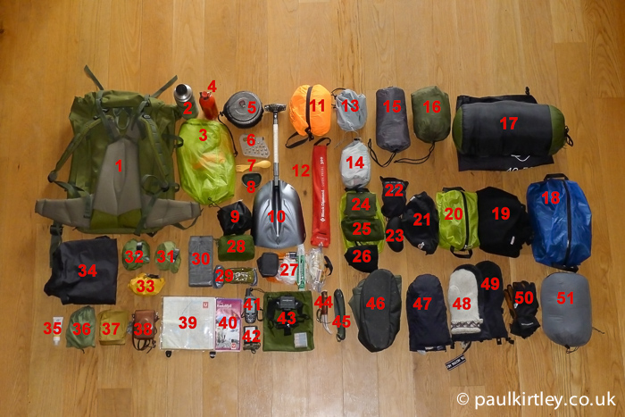 A photo of Paul Kirtley's ski touring equipment numbered for easy reference