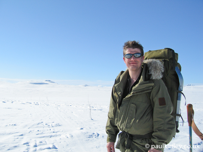 Paul Kirtley in sunshine on the Hardangervidda