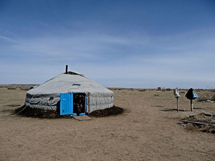 Yurt with solar panel