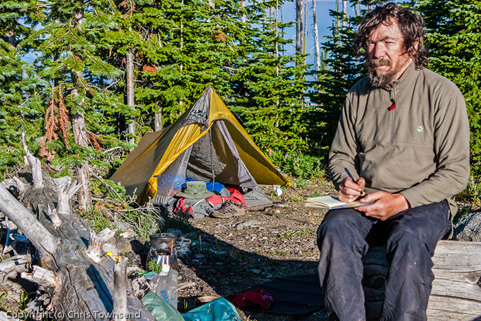 Chris Townsend camping on the PNW trail
