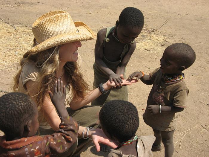 Alyssa Crittenden with Hadza kids