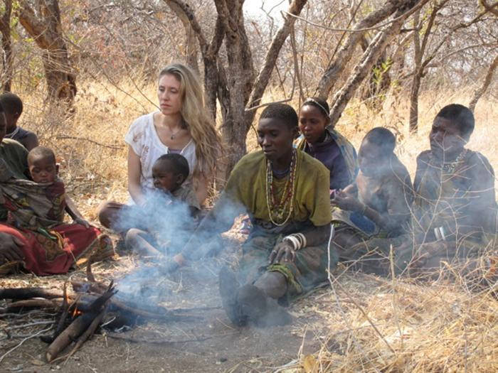 Alyssa Crittenden with Hadza women