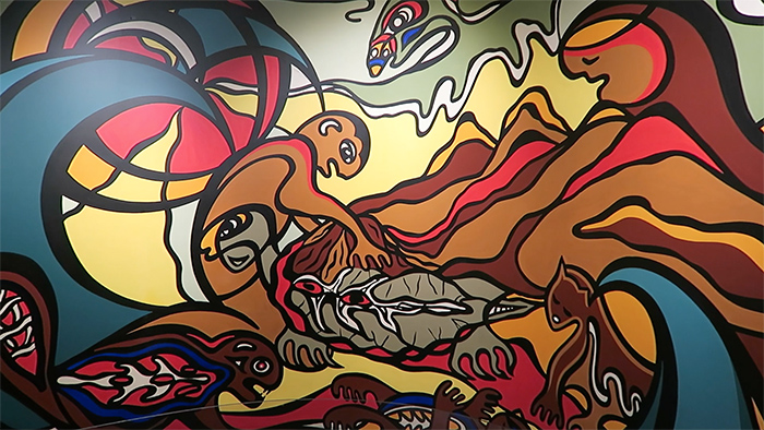 Colourful Native Art Mural At The Manitoba Museum