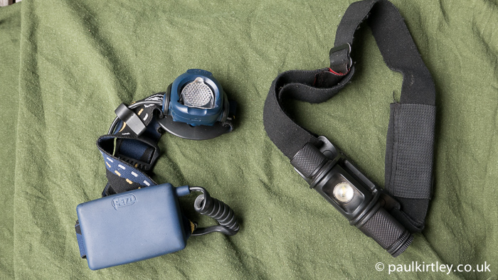 Petzl Myo XP with the Surefire lamp which replaced it. Photo: Paul Kirtley.