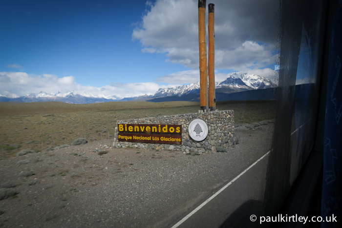 Los Glaciares National Park entrance on the road to El Chalten