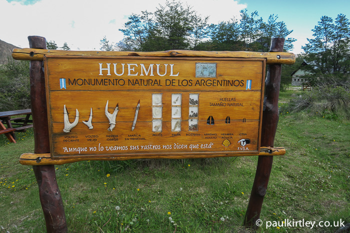 Information display on Huemul antlers, droppings and tracks