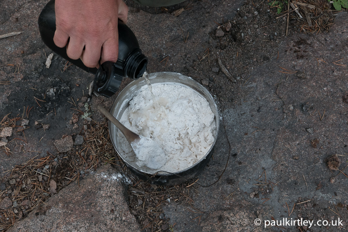 Once the flour and initial water is as consolidated as possible, add some more water. Photo: Amanda Quaine.
