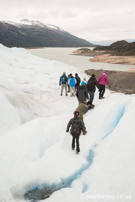Heading down the glacier.